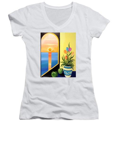 Green Apples Still Life Women's V-Neck T-Shirt (Junior Cut) by Roberto Gagliardi