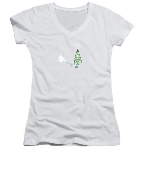 Green Bead Christmas Tree II Women's V-Neck