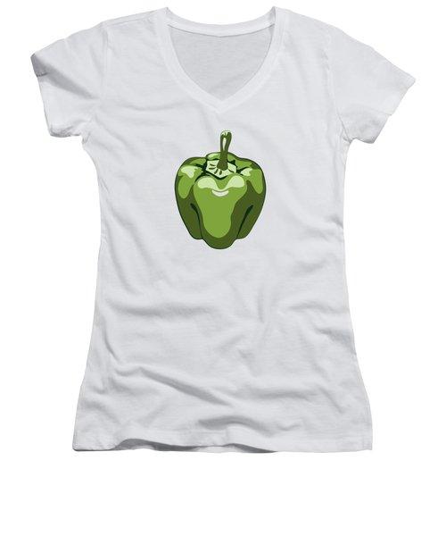 Green Bell Pepper Women's V-Neck
