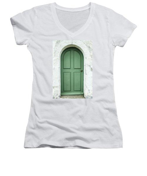 Green Church Door Iv Women's V-Neck T-Shirt (Junior Cut) by Helen Northcott