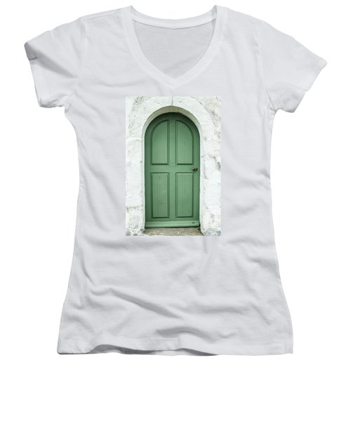 Green Church Door Iv Women's V-Neck T-Shirt