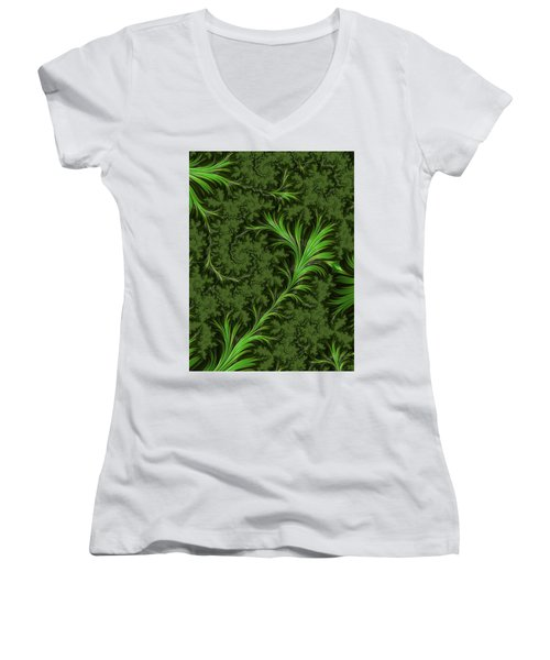 Green Fronds Women's V-Neck T-Shirt (Junior Cut) by Rajiv Chopra