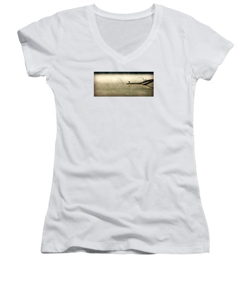 Green Heron In Dawn Mist Women's V-Neck T-Shirt (Junior Cut) by Kathy Barney