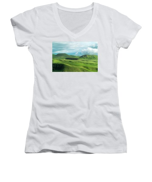 Green Hills On The Big Island Of Hawaii Women's V-Neck (Athletic Fit)