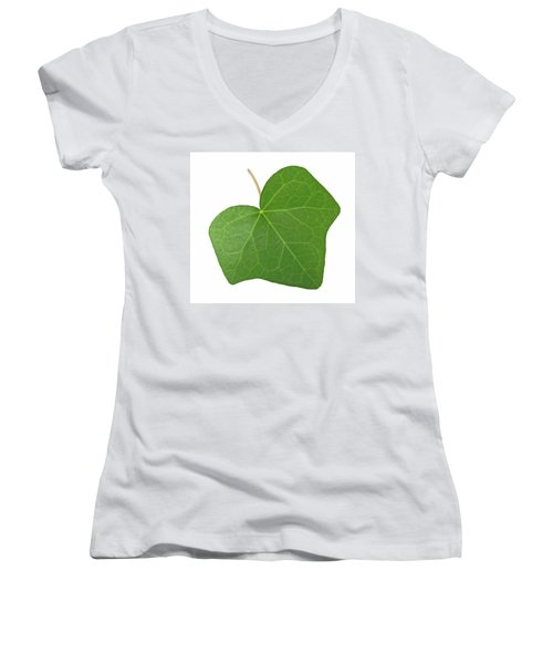 Green Ivy Leaf Women's V-Neck T-Shirt (Junior Cut) by GoodMood Art