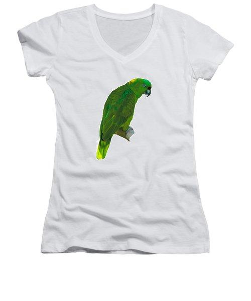 Green Parrot On White  Women's V-Neck
