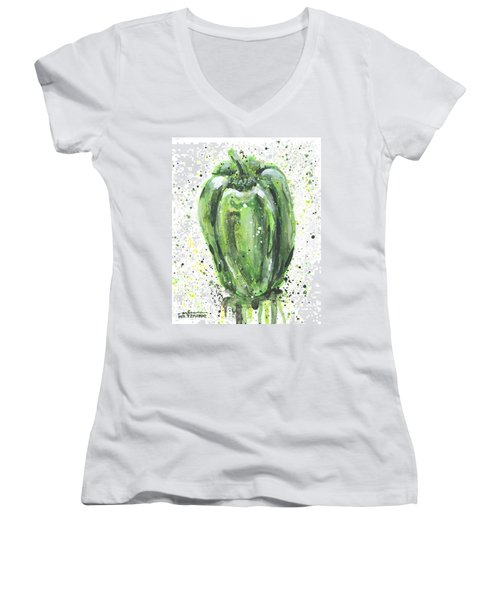 Green Pepper Women's V-Neck T-Shirt (Junior Cut) by Arleana Holtzmann
