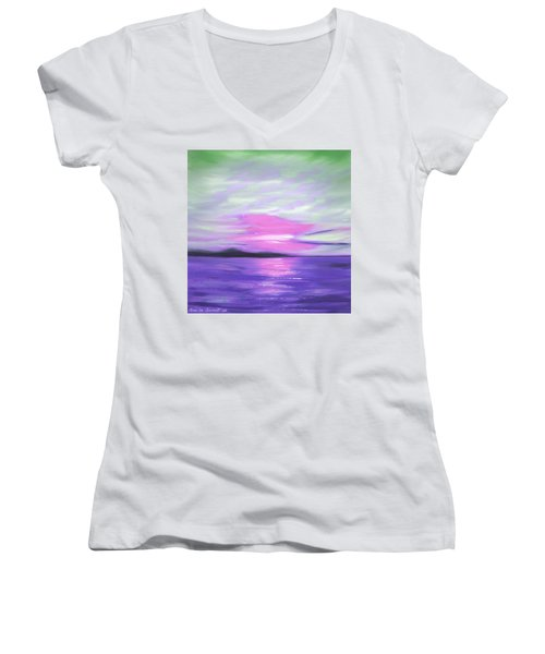 Green Skies And Purple Seas Sunset Women's V-Neck T-Shirt