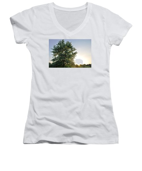 Green Tree Bright Sunshine Background Women's V-Neck T-Shirt (Junior Cut) by Matt Harang