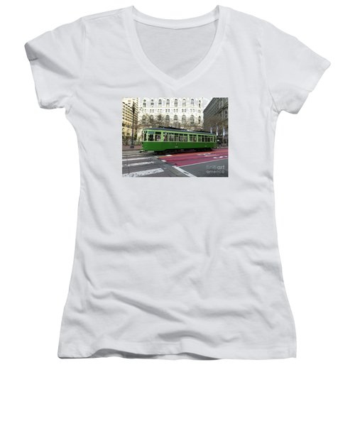 Green Trolley Women's V-Neck T-Shirt