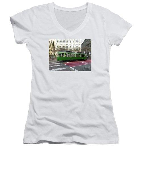Green Trolley Women's V-Neck