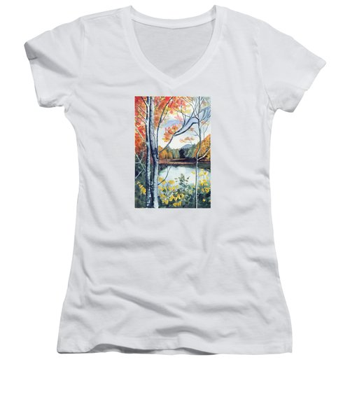 Women's V-Neck T-Shirt (Junior Cut) featuring the painting Greenbriar River, Wv 2 by Katherine Miller