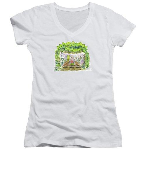 Greenhouse To Volcano Garden Arts Women's V-Neck