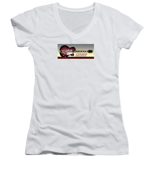 Gretsch Guitar Women's V-Neck (Athletic Fit)