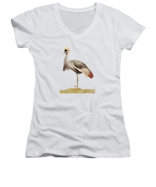 Grey Crowned Crane Women's V-Neck (Athletic Fit)