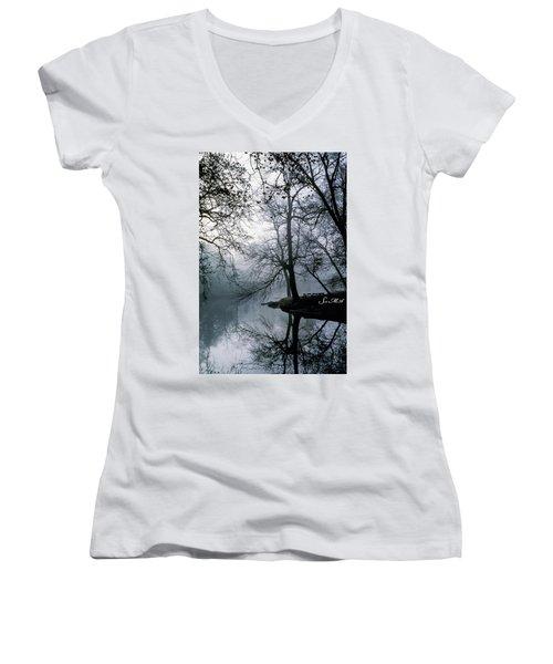 Grings Mill Fog 1043 Women's V-Neck T-Shirt (Junior Cut) by Scott McAllister