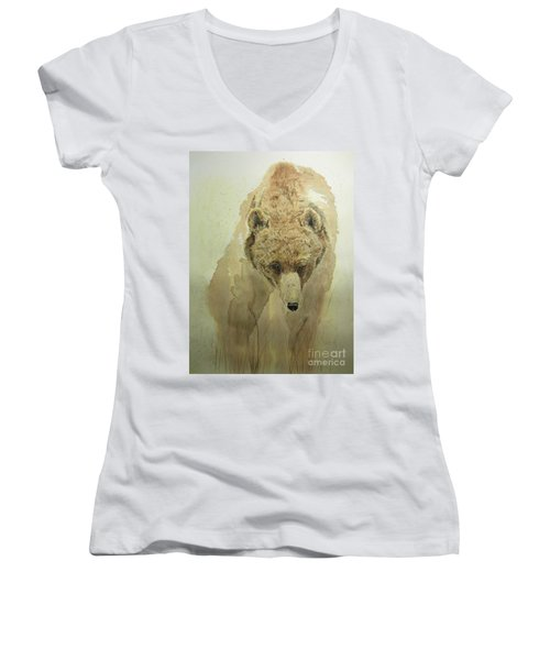 Grizzly Bear1 Women's V-Neck T-Shirt (Junior Cut) by Laurianna Taylor