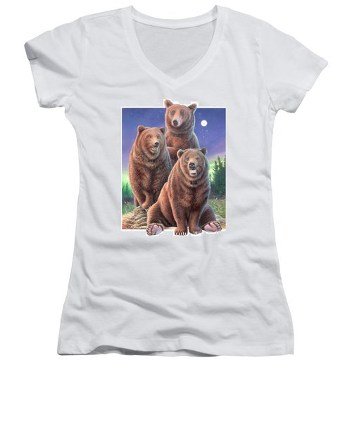 Grizzly Bears In Starry Night Women's V-Neck T-Shirt