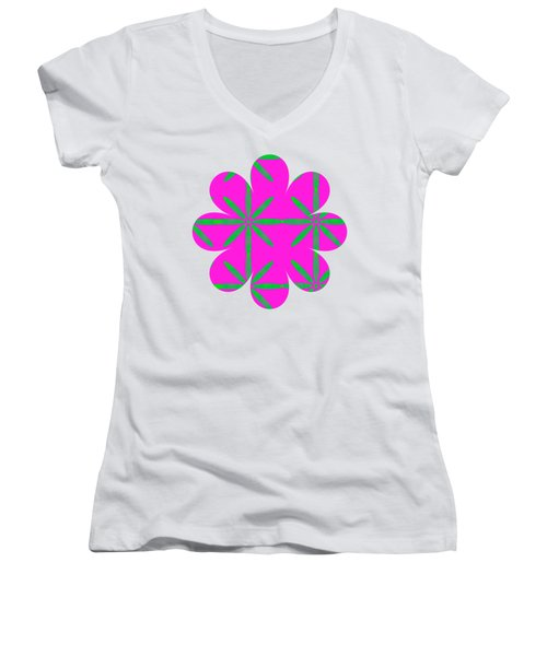 Groovy Flowers Women's V-Neck (Athletic Fit)