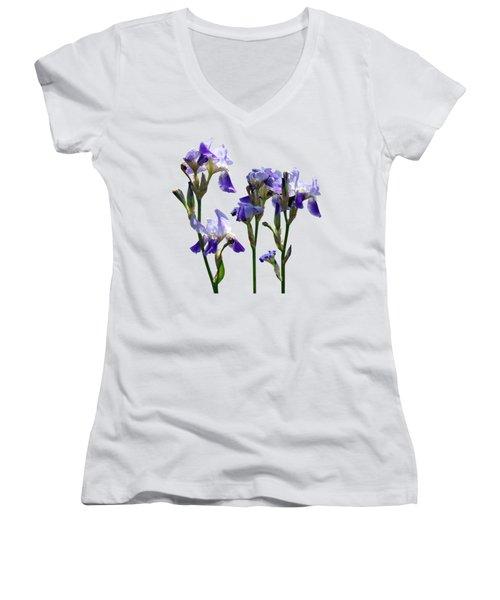 Group Of Purple Irises Women's V-Neck T-Shirt (Junior Cut)
