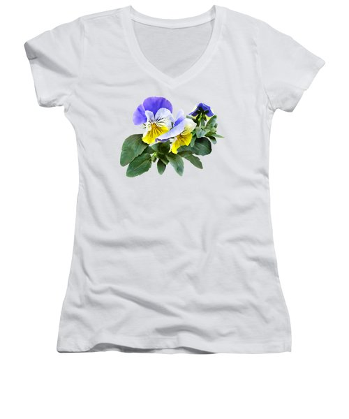 Group Of Yellow And Purple Pansies Women's V-Neck