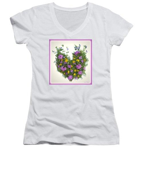 Women's V-Neck T-Shirt (Junior Cut) featuring the digital art Growing Heart by Lise Winne