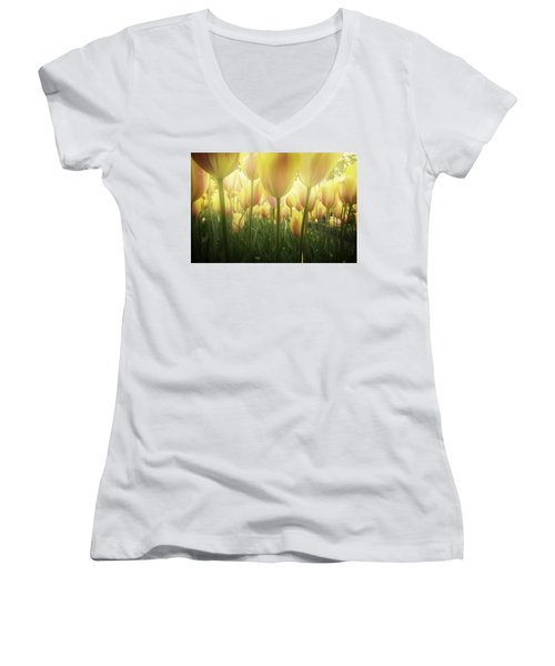 Growing  Tulips  Women's V-Neck T-Shirt (Junior Cut) by Anastasy Yarmolovich