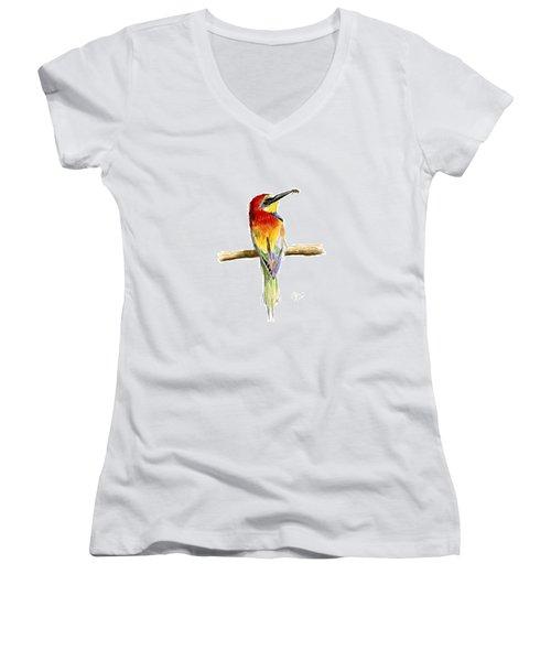 Gruccione  - Bee Eater - Merops Apiaster Women's V-Neck T-Shirt (Junior Cut) by Raffaella Lunelli