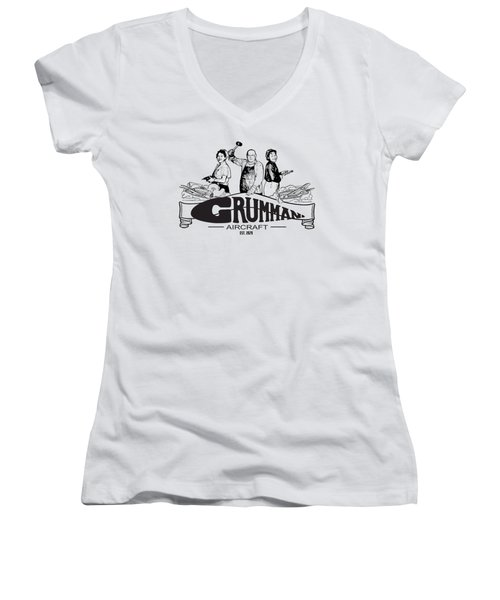 Grumman Aircraft Est 1929 Women's V-Neck (Athletic Fit)