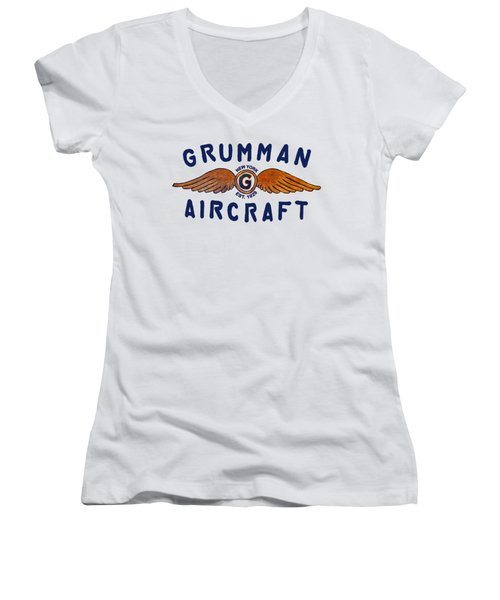 Grumman Wings Blue Women's V-Neck (Athletic Fit)