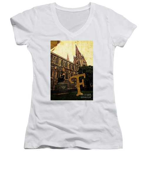 Grungy Melbourne Australia Alphabet Series Letter F Captain Matt Women's V-Neck (Athletic Fit)