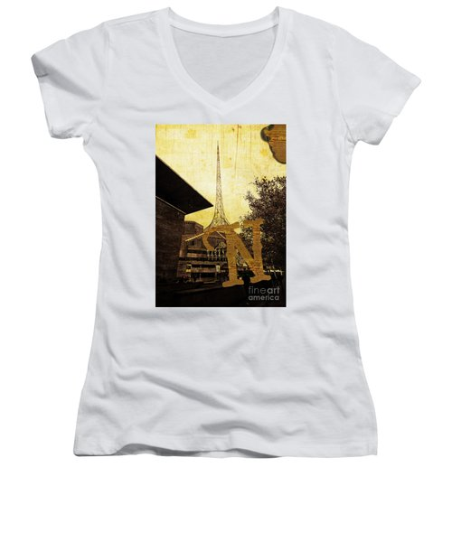 Grungy Melbourne Australia Alphabet Series Letter N National Gal Women's V-Neck (Athletic Fit)