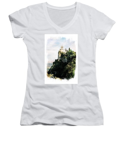 Guaita Castle Fortress Women's V-Neck T-Shirt