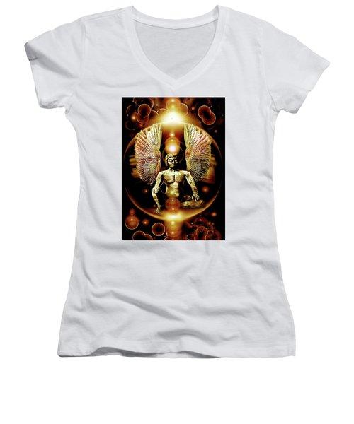 Guardian  Archangel Women's V-Neck T-Shirt (Junior Cut) by Hartmut Jager