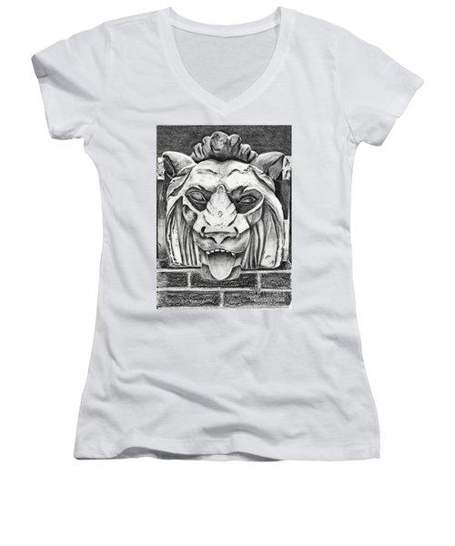 Women's V-Neck T-Shirt (Junior Cut) featuring the drawing Guardian Lion by Terri Mills