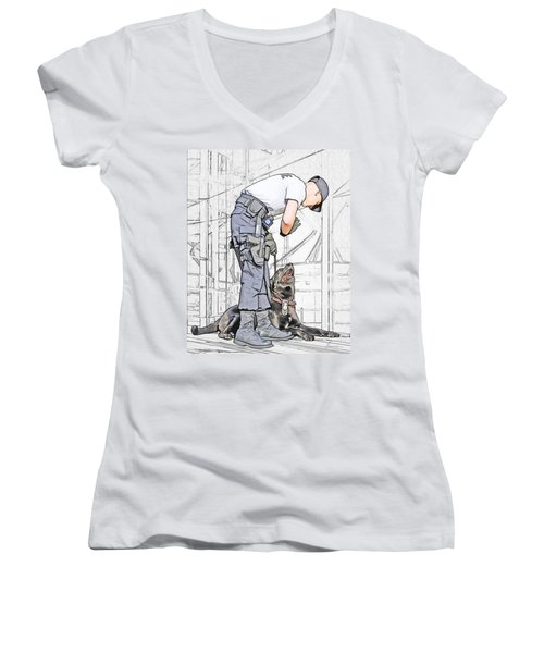Guarding The City Women's V-Neck (Athletic Fit)