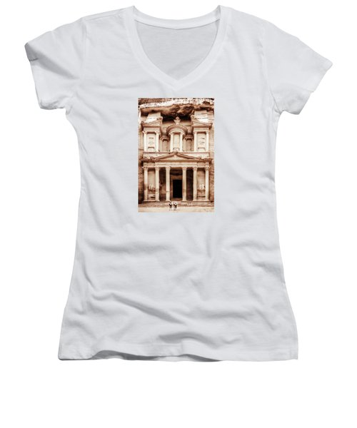 Women's V-Neck T-Shirt (Junior Cut) featuring the photograph Guarding The Petra Treasury by Nicola Nobile