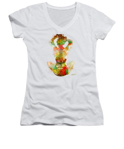 Women's V-Neck T-Shirt (Junior Cut) featuring the digital art Guitar Siren by Nikki Smith