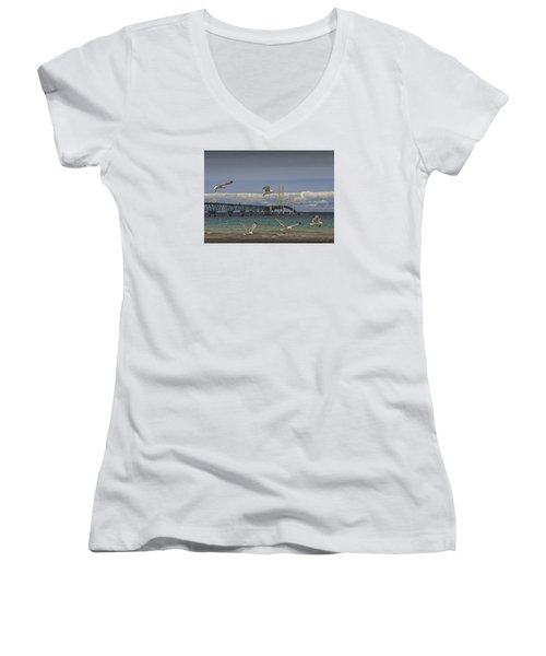 Gulls Flying By The Bridge At The Straits Of Mackinac Women's V-Neck T-Shirt (Junior Cut) by Randall Nyhof