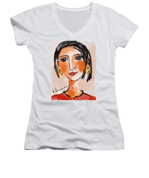 Gypsy Lady Women's V-Neck T-Shirt (Junior Cut) by Elaine Lanoue