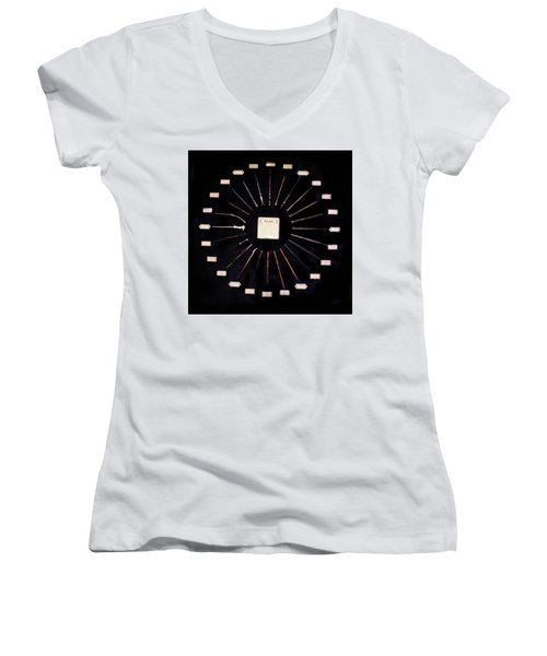 Women's V-Neck T-Shirt (Junior Cut) featuring the mixed media Harry Potter Wands by Gina Dsgn
