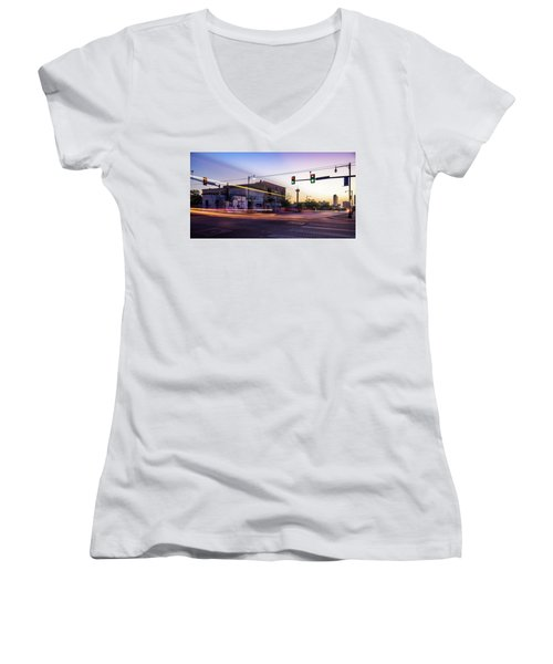 Hackberry And Commerce Women's V-Neck T-Shirt (Junior Cut) by Micah Goff