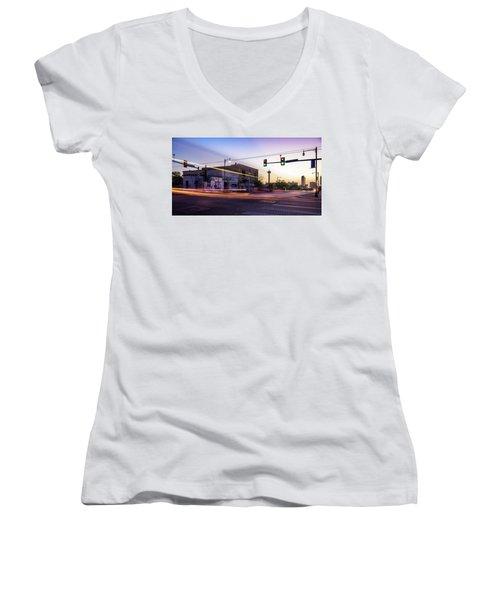Hackberry And Commerce Women's V-Neck T-Shirt (Junior Cut)