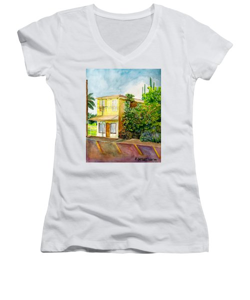 Women's V-Neck T-Shirt (Junior Cut) featuring the painting Hairbenders Of Paia by Eric Samuelson