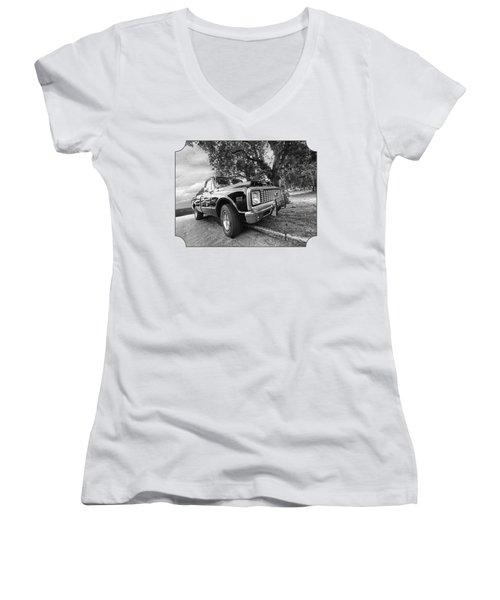 Halcyon Days - 1971 Chevy Pickup Bw Women's V-Neck T-Shirt (Junior Cut)