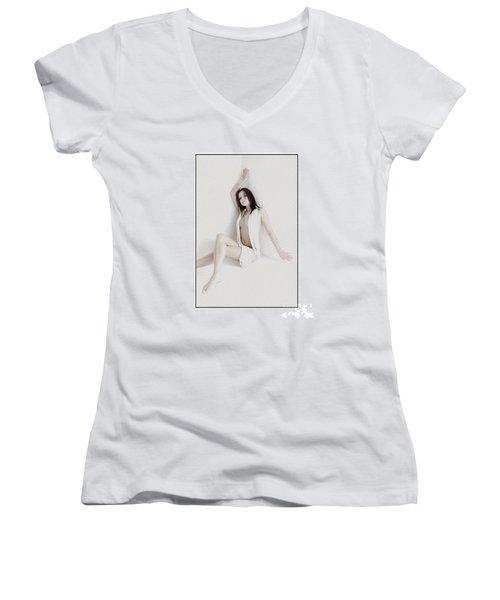 Half Naked Woman Is Studio Women's V-Neck T-Shirt (Junior Cut) by Michael Edwards