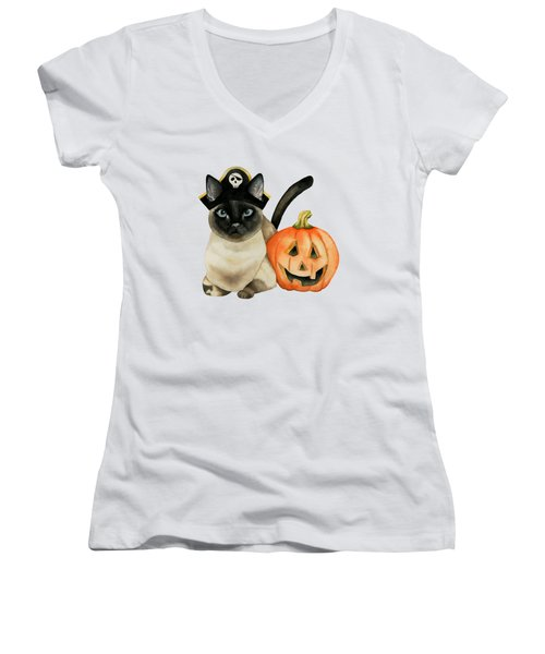 Halloween Siamese Cat With Jack O' Lantern Women's V-Neck (Athletic Fit)