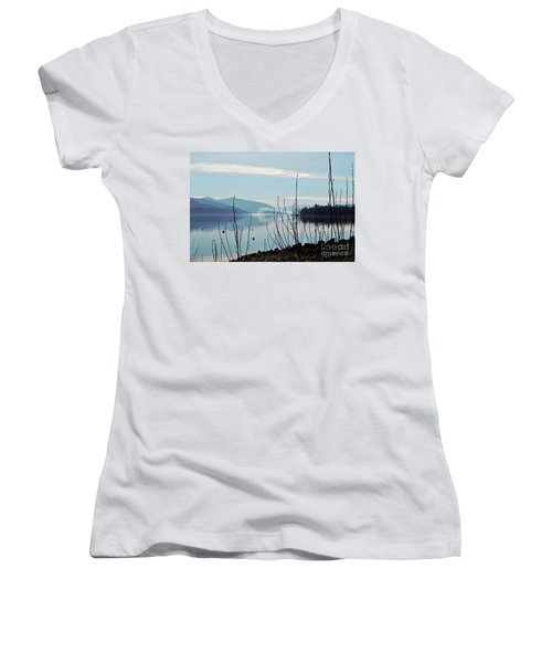 Women's V-Neck T-Shirt (Junior Cut) featuring the photograph Halo On Copper Island by Victor K