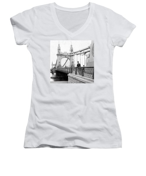 Hammersmith Bridge In London - England - C 1896 Women's V-Neck (Athletic Fit)
