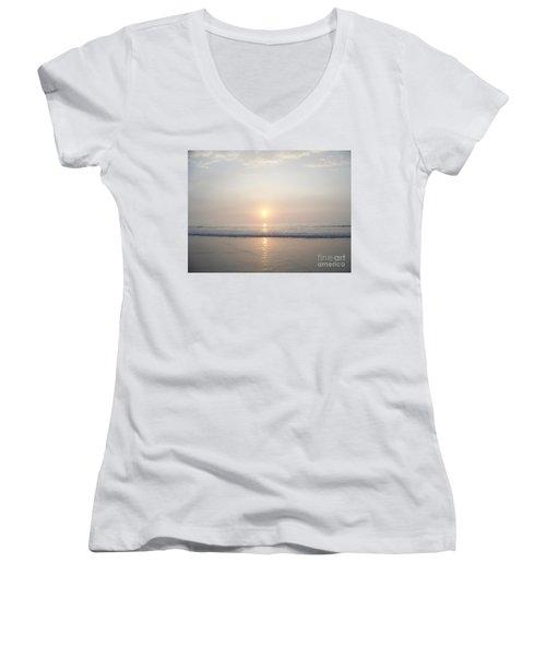 Women's V-Neck T-Shirt (Junior Cut) featuring the photograph Hampton Beach Sunrise by Eunice Miller